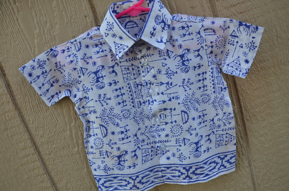 Hand Block Print Cotton Baby Boys Handmade Button Down Shirt - 12 Months - Father Son Matching - Mhina 3170