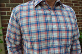 Retro Look Men's Lightweight Woven Cotton Long Sleeve Button Down Pocket Shirt - Blue and Red Plaid - Size Large - Harvey I901