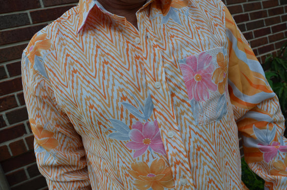 Retro Look Men's Handmade Lined Sari Material Long Sleeve Button Down Dress Shirt - Orange on White Zig Zag Print - Vibe I923