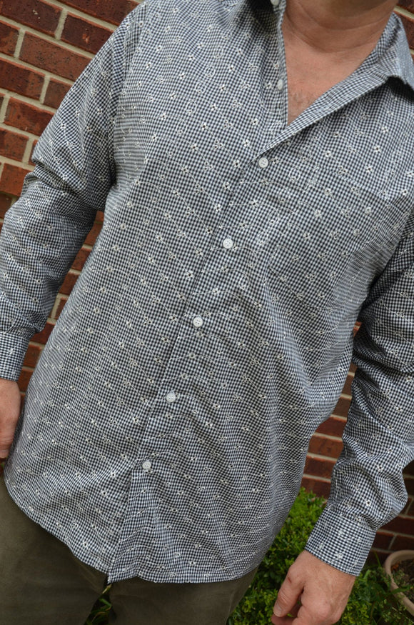 Men's Handmade Cotton Long Sleeve Button Down Pocket Shirt - Black White Check Embroidered - Family Matching - Emerson I920