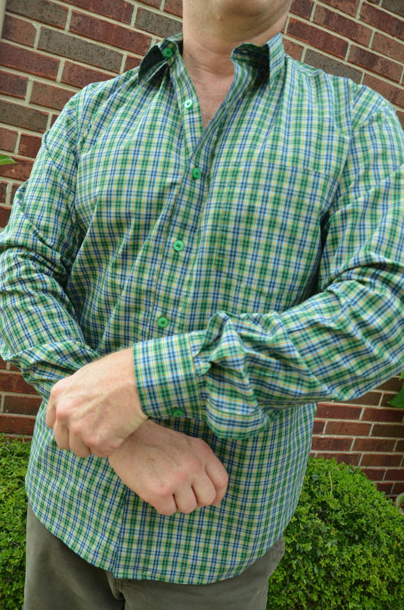 Cotton Men's Long Sleeve Button Down Handmade Pocket Shirt - Green and Slate Blue - Traditional Plaid - Clarence I902
