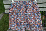 Men's Handmade Cotton Underwear Boxers Briefs by Mumtaz Creations  - Rust Floral - Size 28 Small - Marseille I914