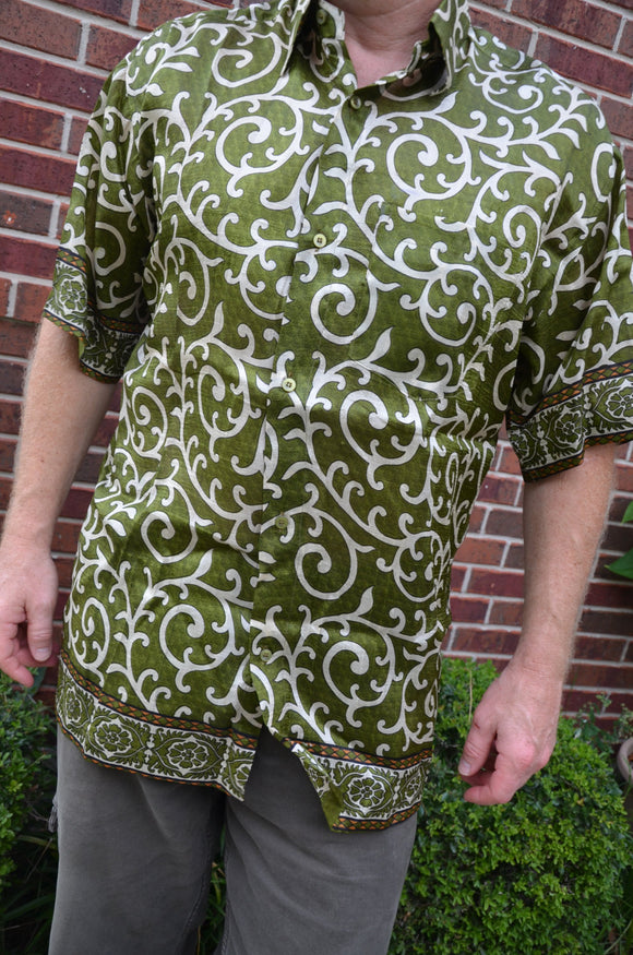 Woven Indian Sari Silk Men's Handmade Button Down Pocket Shirt - Olive Green Ivory Swirls - Kyler I895