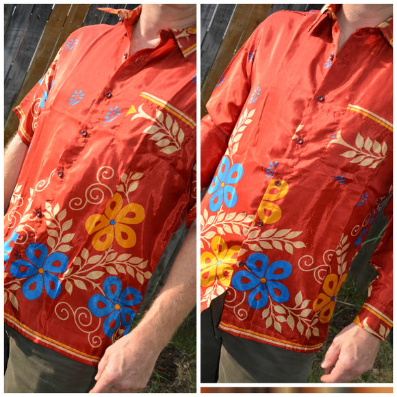 Men's Handmade Sari Silk Button Down, Short Sleeve Dress Shirt - Rust with Blue Ivory Floral - Large or XL - Yannick I925