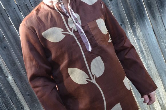 Men's Indian Woven Cotton Lined Long Sleeve Banded Round Collar Warm Dress Shirt - Size Large - Brown Solitary Vine - Roarke I931