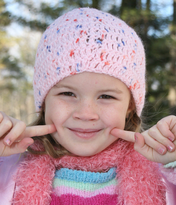 Pure Wool Crocheted Girl's Beanie Winter Hat - Rose Dew 99