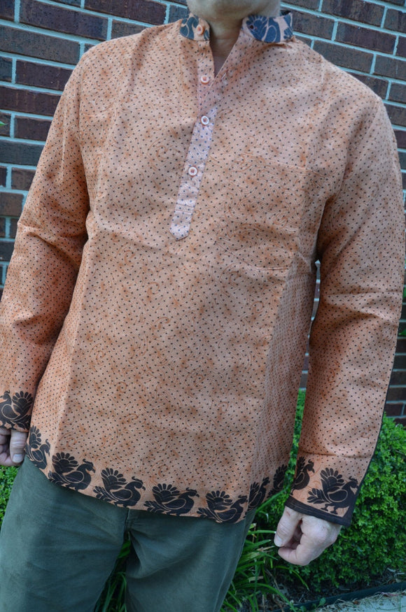 Men's Woven Indian Cotton Lined Long Sleeve Banded Round Collar Winter Warmth Dress Shirt - Size Large - Rust Dot - Hafeez I929