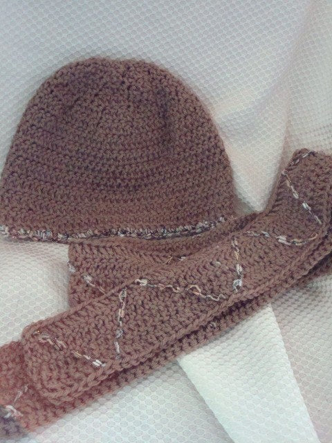 Eco Friendly Women's Decorated Hat and Scarf Set of Recycled Materials - Mocha 63B