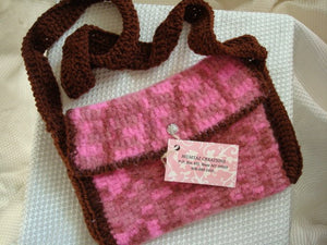 Strawberry and Chocolate Handmade Felted Wool Purse Handbag - 45A