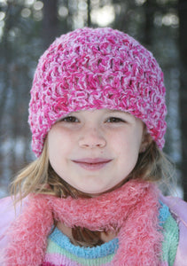 Fuchsia Pink Hand-Dyed Plied Cotton, Wool Youth Girls Crocheted Hat - Peppermint Twist 233
