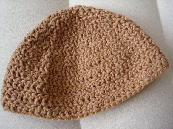 Organic Colorgrown Cotton Unisex Adult Crocheted Beanie Hat - Pecan F669