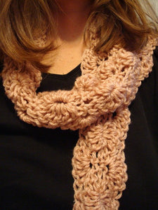 SALE - Ecofriendly Flower Style Womens Accent Scarf Crocheted with Recycled Materials - Rose Petal - 54B