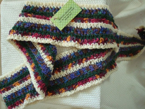 SALE - All Wool Striped Multi-Colored Scarf - 10A