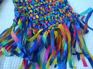 Rainbow Hand-Stitched Nylon Fashion Scarf - 92B