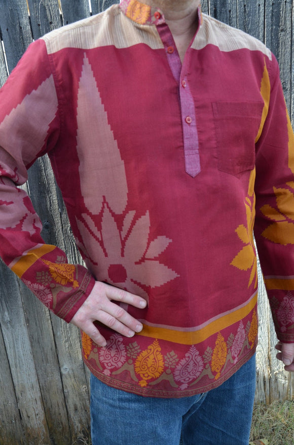 Men's Handmade Indian Woven Cotton Lined Long Sleeve Banded Round Collar Warm Dress Shirt - Size XL -Magenta Mustard Big Floral - Prescott I955