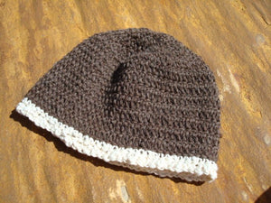 Warm Undyed Wool Women's or Men's Winter Crocheted Beanie Hat - Maple 118B