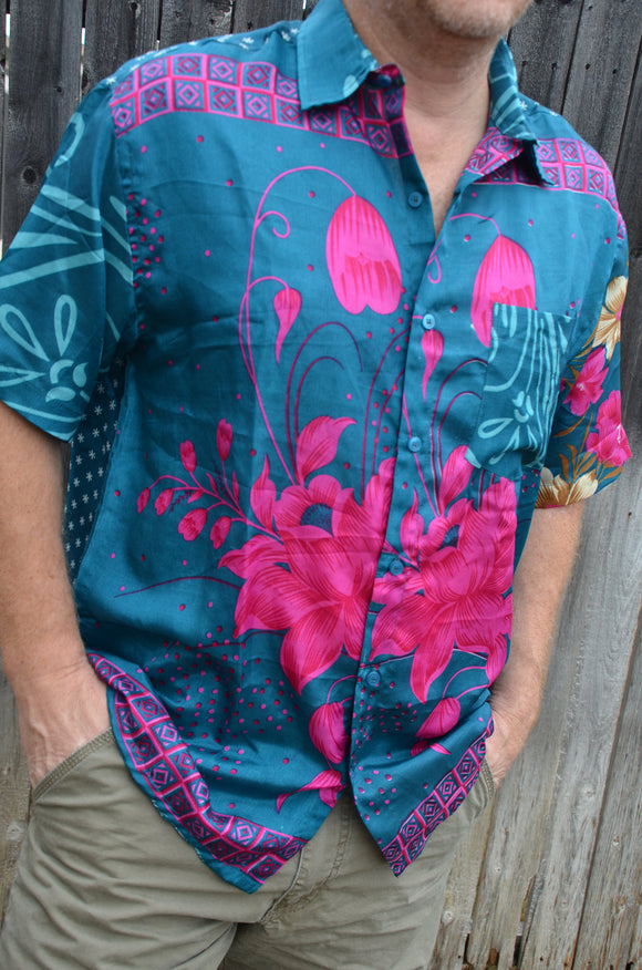 Hawaiian Men's Handmade Sari Silk Button Down Long Sleeve Dress Shirt - Teal Pink Floral - Size Large - Niihau I943