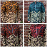 Men's Handmade Indian Art Nouveau Cotton Lined Long Sleeve Banded Round Collar Warm Dress Shirt - Various Colors - Large or XL - Swan I951