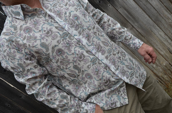 Block Print Men's Long Sleeve Button Down Handmade Indian Cotton Shirt - Medium - Lavender Olive Floral on White - Aymeric I938