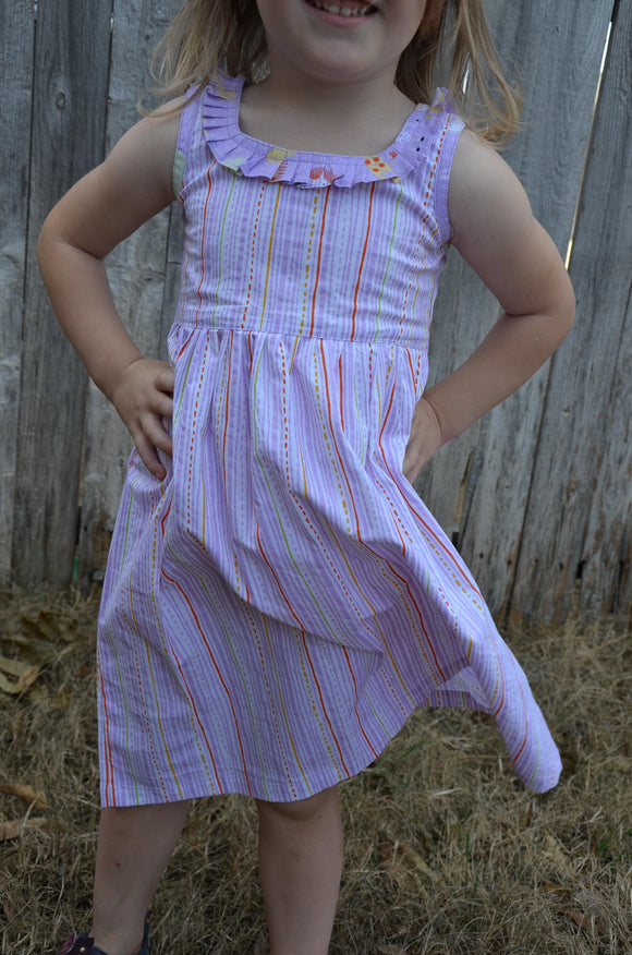 Adorable Toddler Girl's Handmade Organic Cotton Knee Length Sleeveless Dress - Lavender Stripe - Drizzle 3109