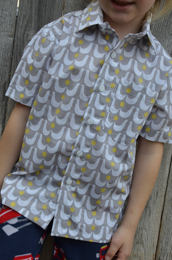 Organic Cotton Youth Boys Handmade Button Down Shirt - Gray with White Birds - Size Small - Family Matching - Love Doves 3164