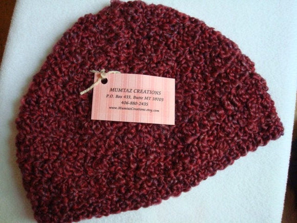Womens Hand Stitched Easy Care Winter Hat and Scarf Set - Wine 75B