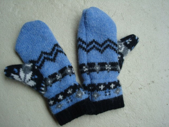 Repurposed Soft Wool and Angora Winter Mittens - Nordic 149C