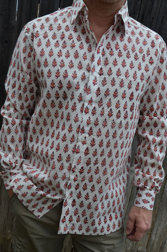 Block Print Men's Handmade Long Sleeve Cotton Shirt - Red Pattern on White - Medium or XL - Kintu I933