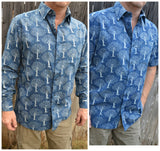 Best Selling Men's Lightweight Hand Block Printed Indian Woven Cotton Long or Short Sleeve Button Down Pocket Shirt - Indigo Navy - Tree of Life K1016