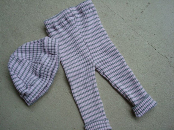 Upcycled Stretchy Cotton Baby Girls Pants and Beanie Hat Set - Abigail 585