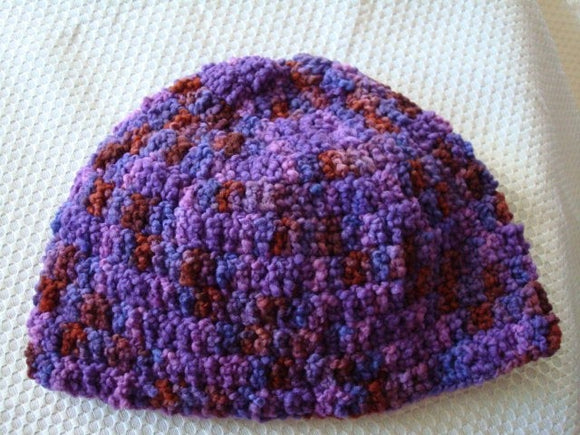 Soft Hand-Painted Wool, Textured Crocheted Teen or Women's Hat - Plum Pudding 58B