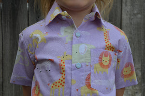 Neutral Colors Toddler Organic Cotton Button Down Shirt - Lavender or Green Zoo Animals - Sibling Matching - Animaux 3160
