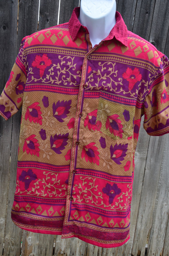 Fuchsia Men's Handmade Sari Silk Button Down, Lined Short Sleeve Dress Shirt - Pink, Purple, Tan Floral Stripe Panel - Size Small - Jarlath  I965