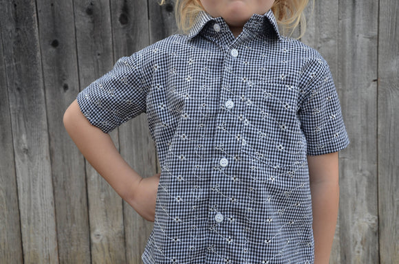 Cotton Baby or Toddler Boys Handmade Button Down Shirt - Black White Plaid Fancy Embroidery - Family Matching - Emerson 3172