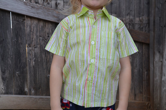 Organic Cotton Toddler or Little Boy Girl Neutral Handmade Button Down Shirt - Light Green Rain Stripe - Sibling Coordinating - Harper 3162