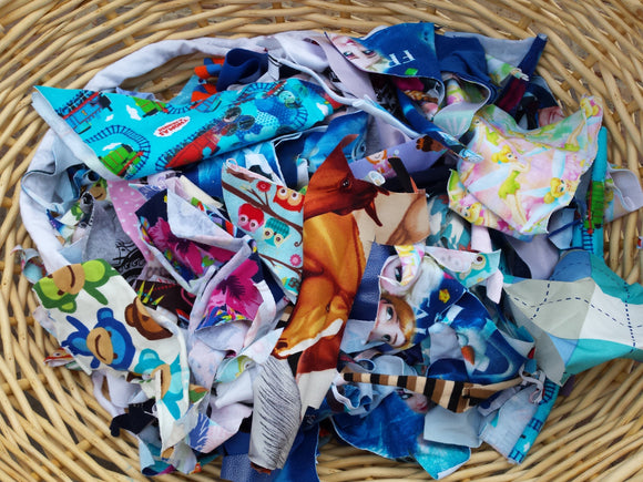 Fabric Pieces Scraps DIY Collage Textile Patchwork Homeschool Art Children Creativity