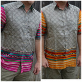 Soft Indian Sari Silk Short Sleeve Button Down Dress Handmade Men's Shirt - Colorful Swirl Stripe - Med or Large - Makisig I966