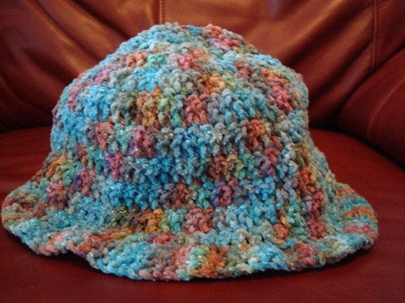 Hand Painted Cotton Velour Chenille Unisex Hat with Brim - Beach House 77B
