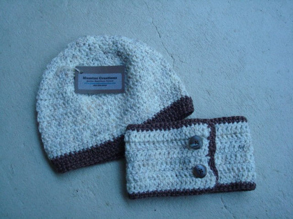 Washable Wool Neutral Toned Matching Winter Hat and Neckwarmer Set - Wheat 133B