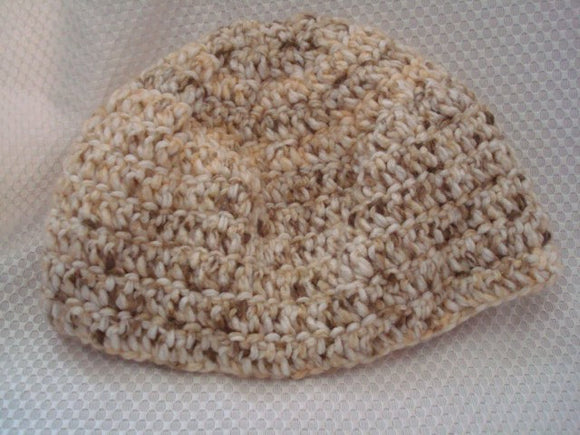 SALE - Thick and Comfy Crocheted Adult Hat - Kreme and Khaki - 61B