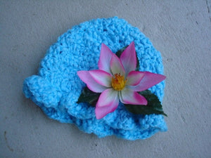 Hand-Stitched Soft, Pure Cotton Floral Baby Hat with Ruffle Brim - Lotus 502