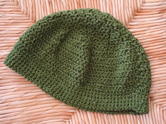 Eco-Friendly Adult Crocheted Soybean Fiber Beanie Hat - Evergreen 70B