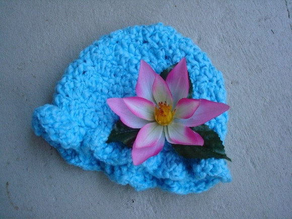 Hand-Stitched Soft, Pure Cotton Floral Toddler Hat with Ruffle Brim - Lotus 501