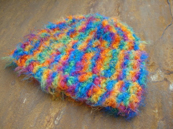 Fun and Furry - Handmade Newborn Baby Girl or Boy Beanie Hat - Rainbow 355