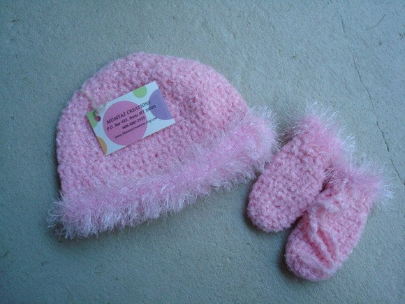 Sparkly Brim Baby or Toddler Girls Crocheted Hat and Mitten Set - Pink Rose