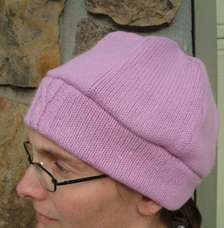 Upcycled Soft Cotton and Angora Women's Beanie Hat - Lily 160