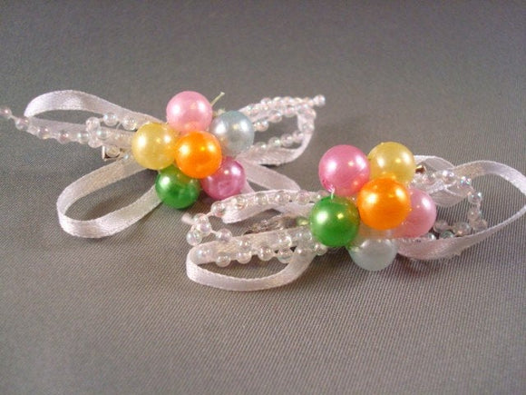 Colorful Beaded Ribbon Hairclips for Toddler Girls - Set of Two