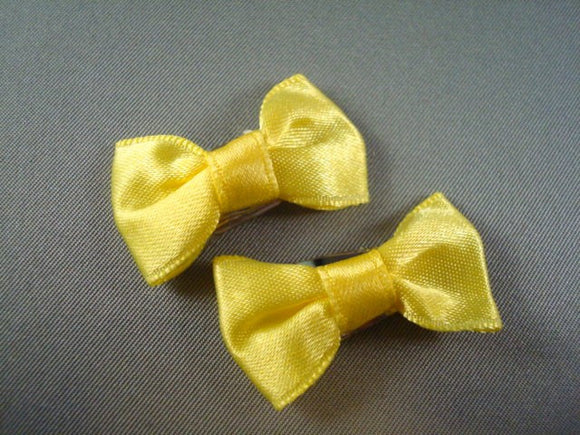 Infant to Toddler Yellow Bow Hair Clips - Set of Two