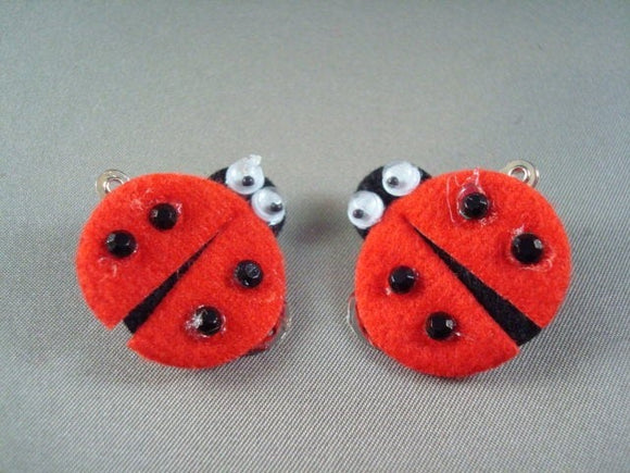 Baby or Toddler Girls Crafty Ladybug Hair Clips - Red Set of Two