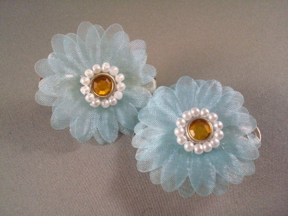 Toddler and Little Girls Dainty Daisy Decorative Hair Clips - Pale Blue Set of Two